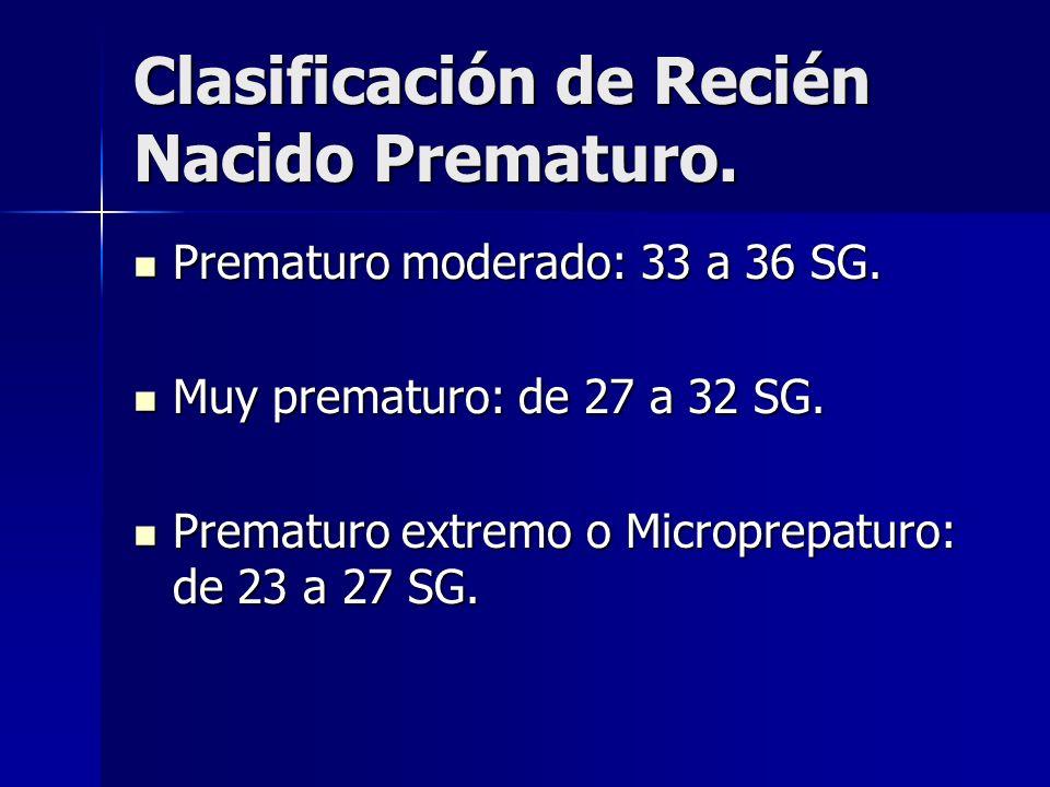 Clasificación de Recién Nacido Prematuro. Prematuro moderado: 33 a 36 SG. Prematuro moderado: 33 a 36 SG. Muy prematuro: de 27 a 32 SG. Muy prematuro: