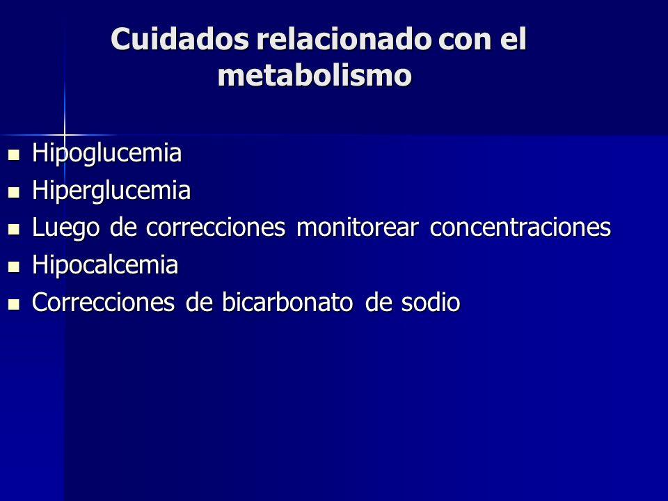 Cuidados relacionado con el metabolismo Cuidados relacionado con el metabolismo Hipoglucemia Hipoglucemia Hiperglucemia Hiperglucemia Luego de correcc