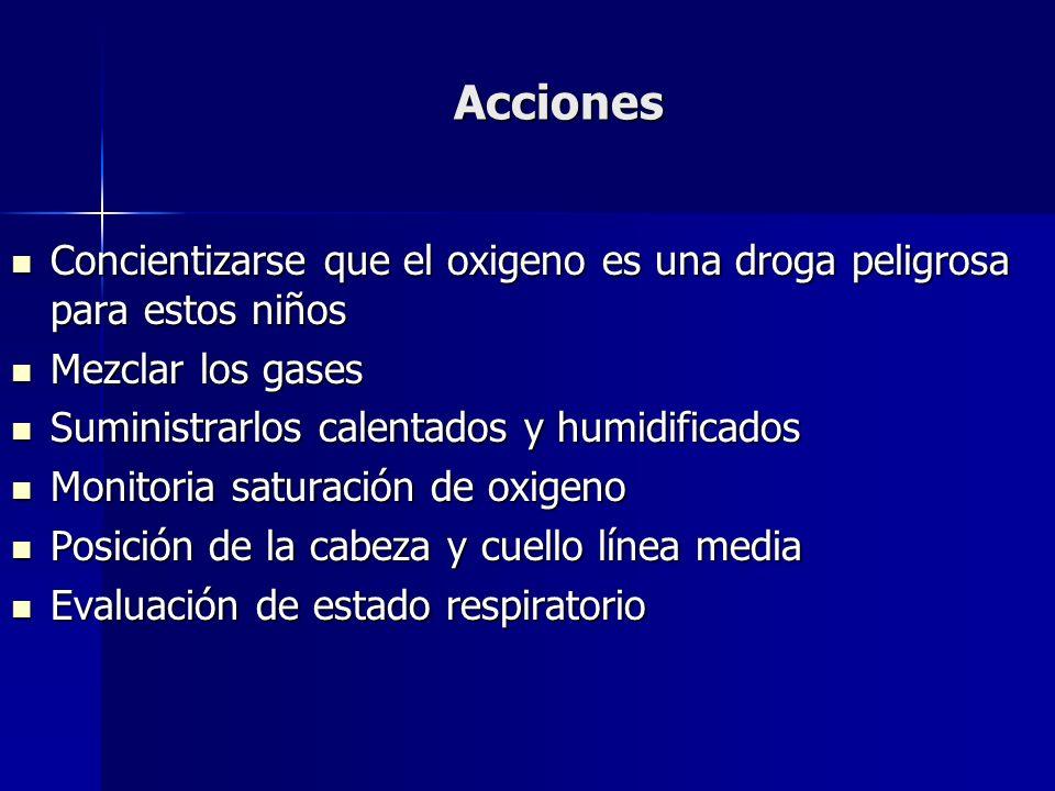 Acciones Concientizarse que el oxigeno es una droga peligrosa para estos niños Concientizarse que el oxigeno es una droga peligrosa para estos niños M