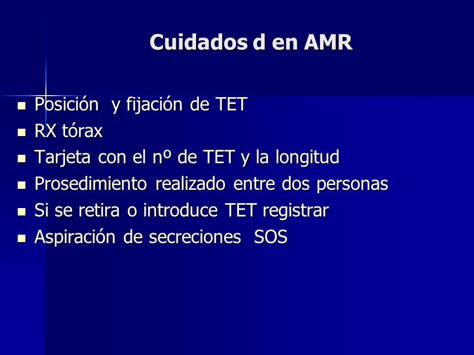 Cuidados d en AMR Posición y fijación de TET Posición y fijación de TET RX tórax RX tórax Tarjeta con el nº de TET y la longitud Tarjeta con el nº de