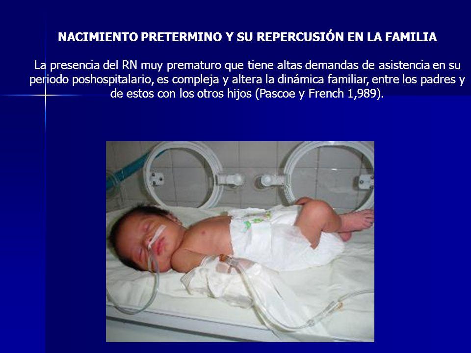 NACIMIENTO PRETERMINO Y SU REPERCUSIÓN EN LA FAMILIA La presencia del RN muy prematuro que tiene altas demandas de asistencia en su periodo poshospita