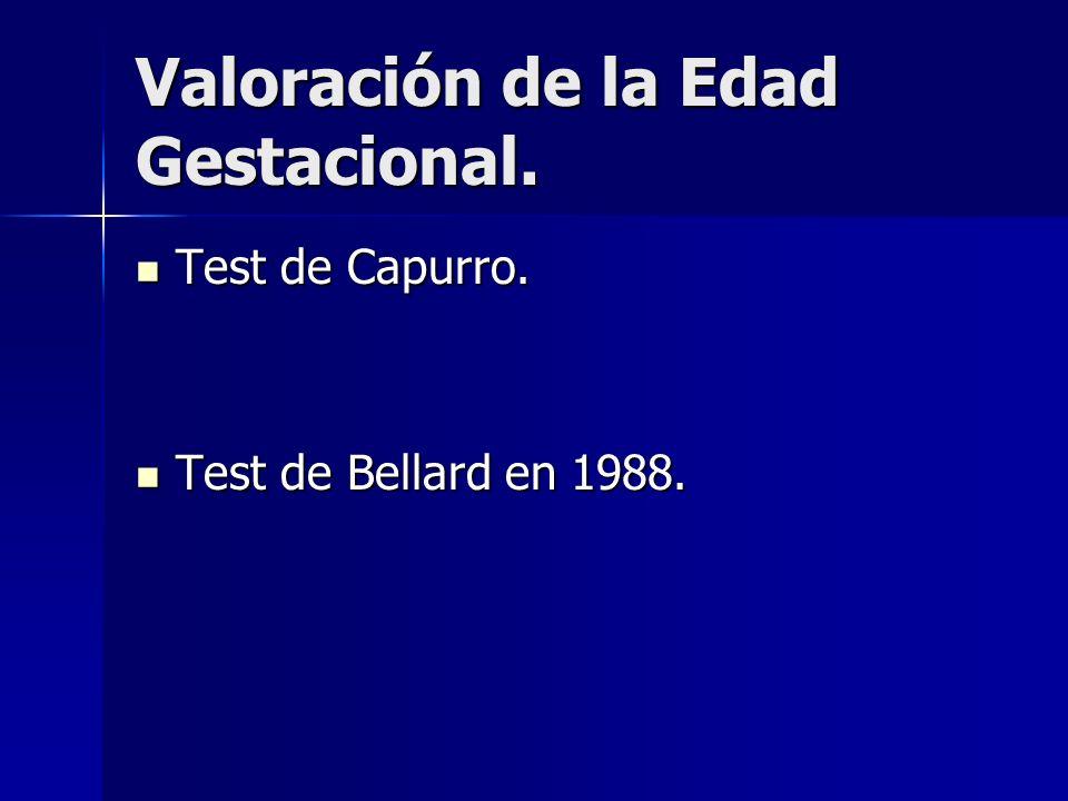 Valoración de la Edad Gestacional. Test de Capurro. Test de Capurro. Test de Bellard en 1988. Test de Bellard en 1988.