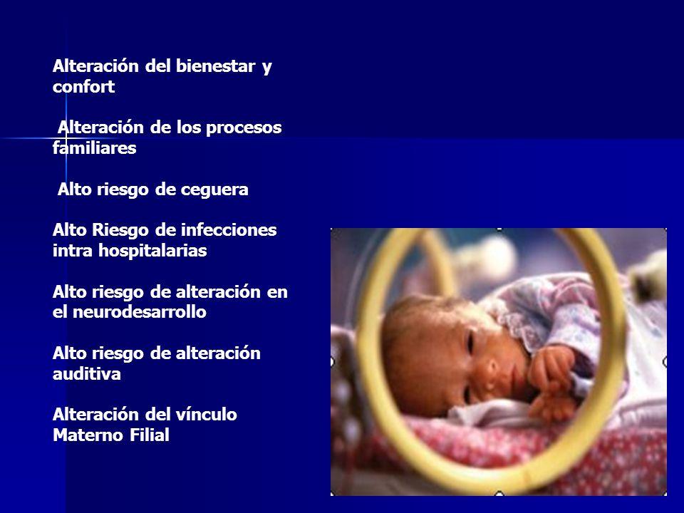 Alteración del bienestar y confort Alteración de los procesos familiares Alto riesgo de ceguera Alto Riesgo de infecciones intra hospitalarias Alto ri