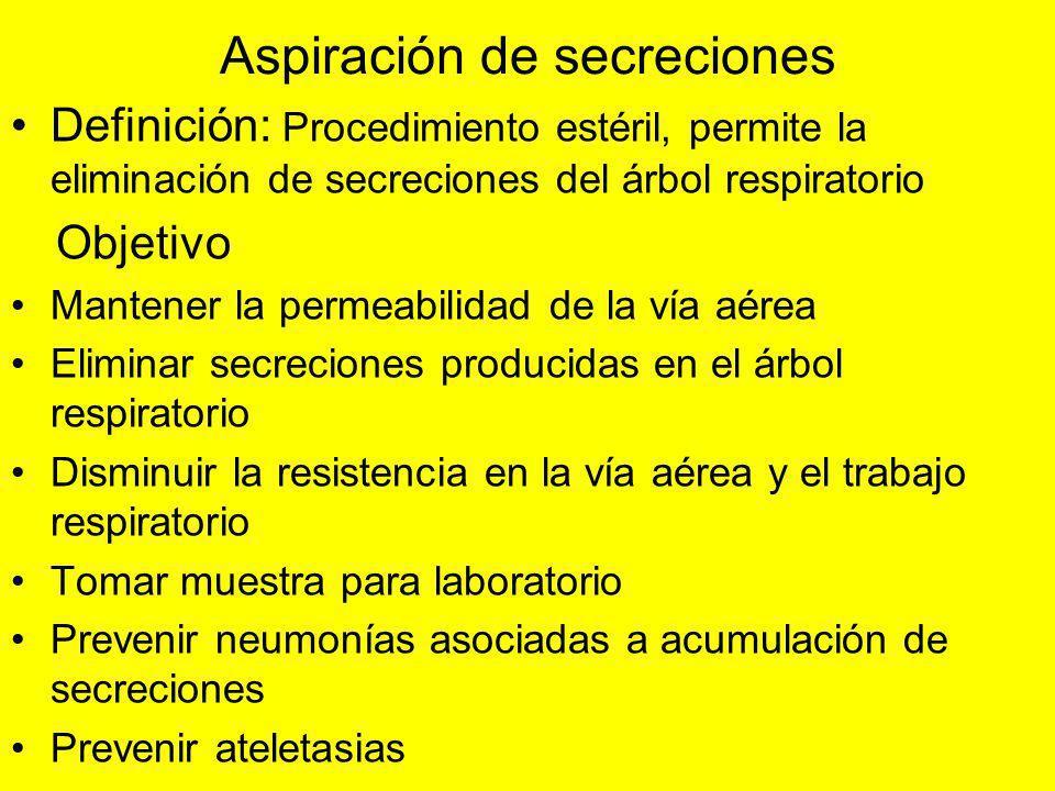 Aspiración de secreciones Definición: Procedimiento estéril, permite la eliminación de secreciones del árbol respiratorio Objetivo Mantener la permeab