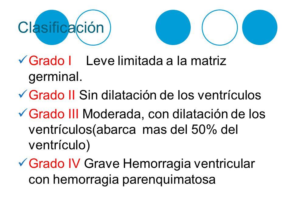 Clasificación Grado I Leve limitada a la matriz germinal. Grado II Sin dilatación de los ventrículos Grado III Moderada, con dilatación de los ventríc