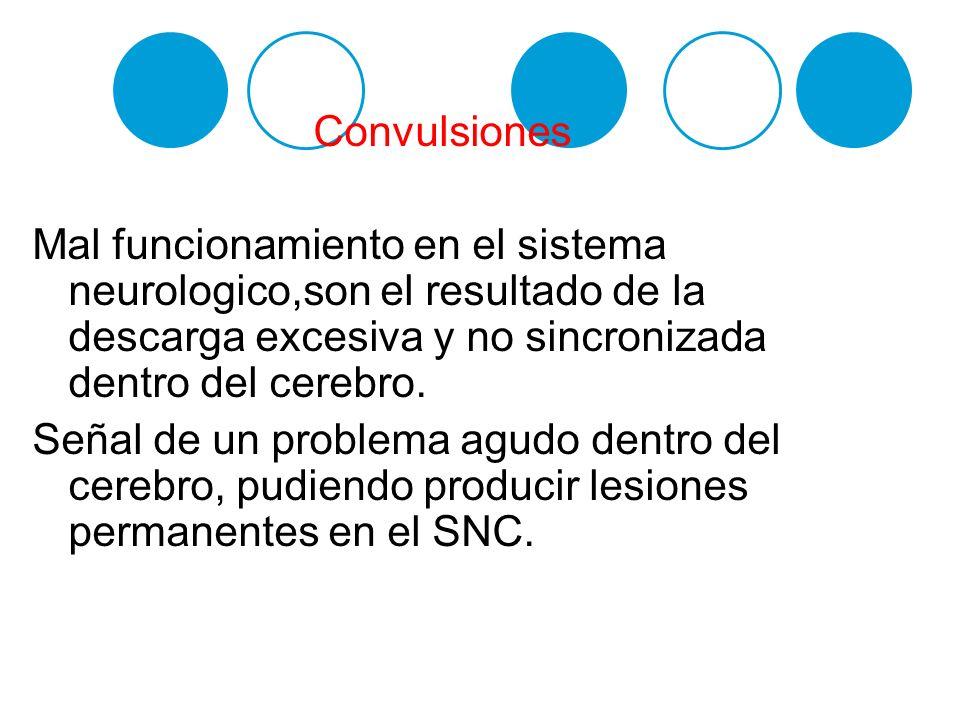 Convulsiones Mal funcionamiento en el sistema neurologico,son el resultado de la descarga excesiva y no sincronizada dentro del cerebro. Señal de un p