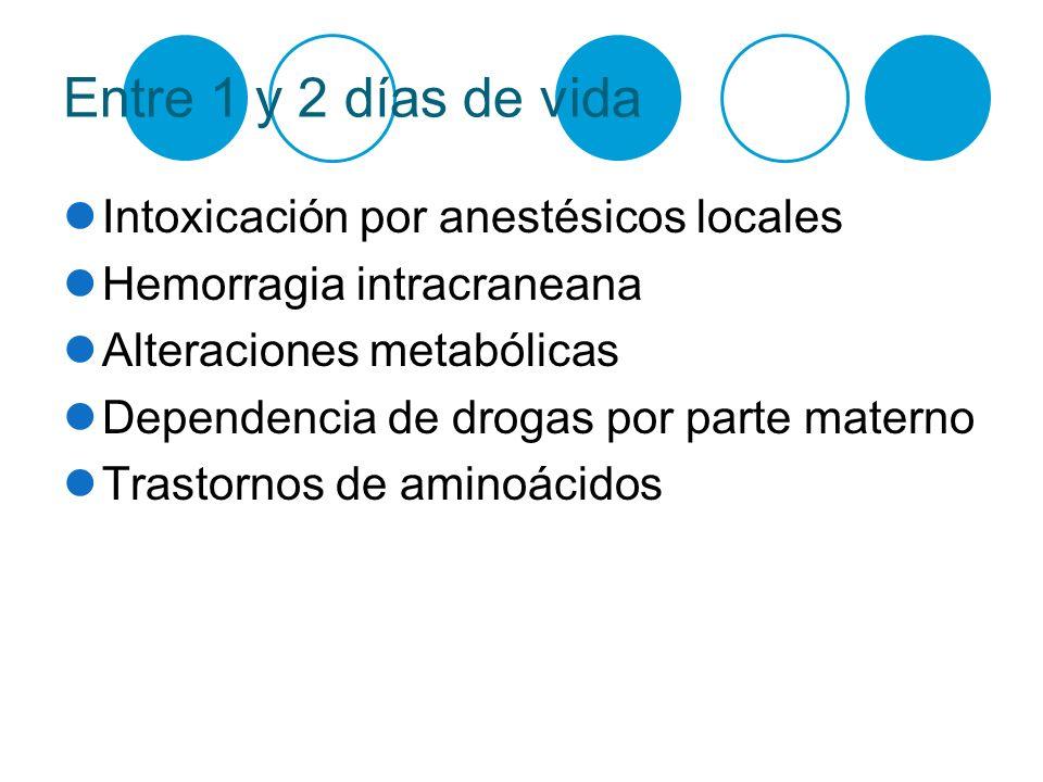 Entre 1 y 2 días de vida Intoxicación por anestésicos locales Hemorragia intracraneana Alteraciones metabólicas Dependencia de drogas por parte matern