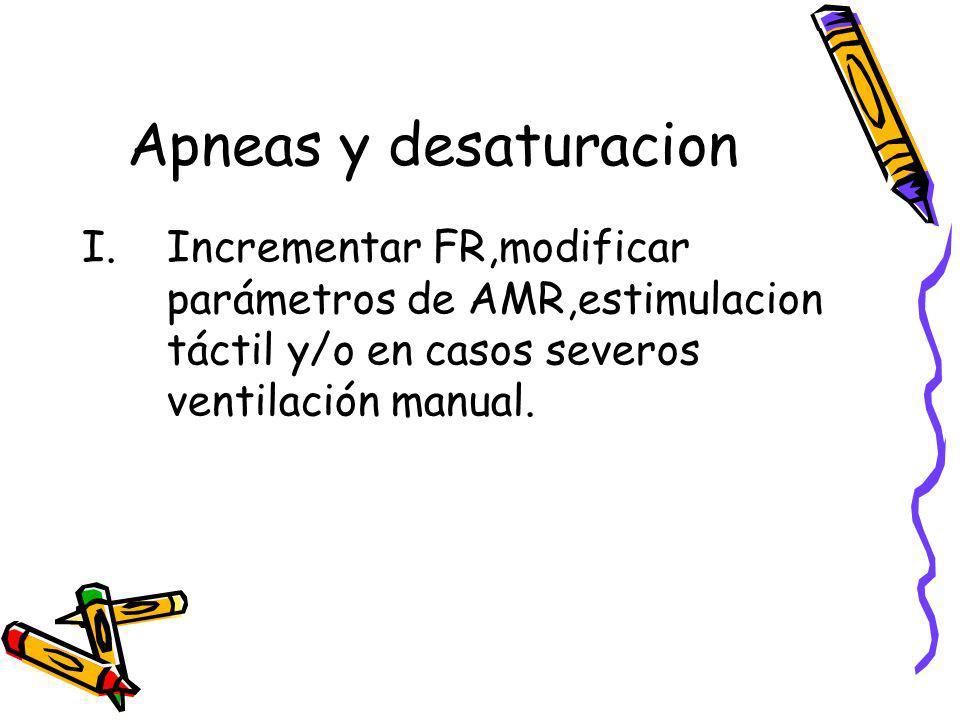 Apneas y desaturacion I.Incrementar FR,modificar parámetros de AMR,estimulacion táctil y/o en casos severos ventilación manual.