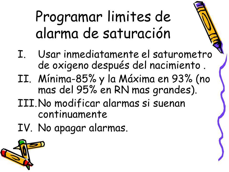 Programar limites de alarma de saturación I.Usar inmediatamente el saturometro de oxigeno después del nacimiento. II.Mínima-85% y la Máxima en 93% (no