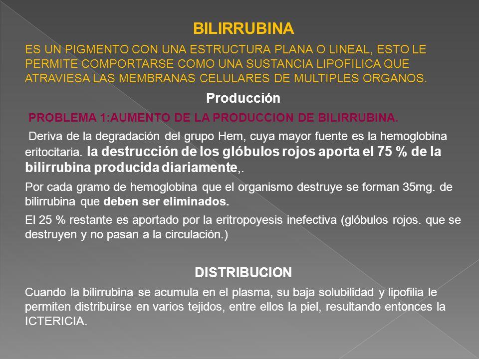 BILIRRUBINA ES UN PIGMENTO CON UNA ESTRUCTURA PLANA O LINEAL, ESTO LE PERMITE COMPORTARSE COMO UNA SUSTANCIA LIPOFILICA QUE ATRAVIESA LAS MEMBRANAS CE