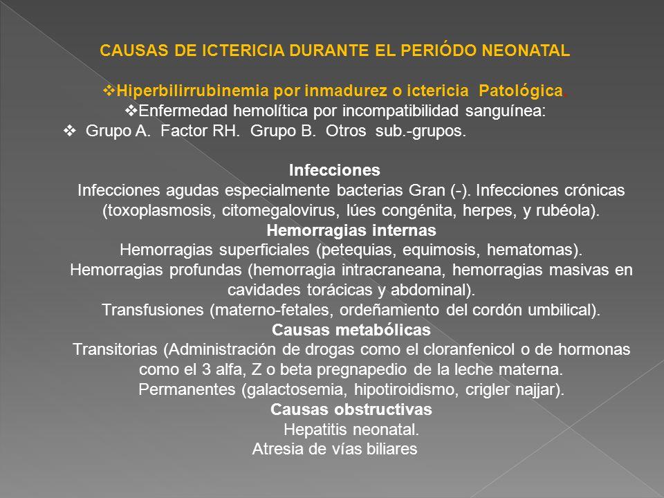 CAUSAS DE ICTERICIA DURANTE EL PERIÓDO NEONATAL Hiperbilirrubinemia por inmadurez o ictericia Patológica. Enfermedad hemolítica por incompatibilidad s