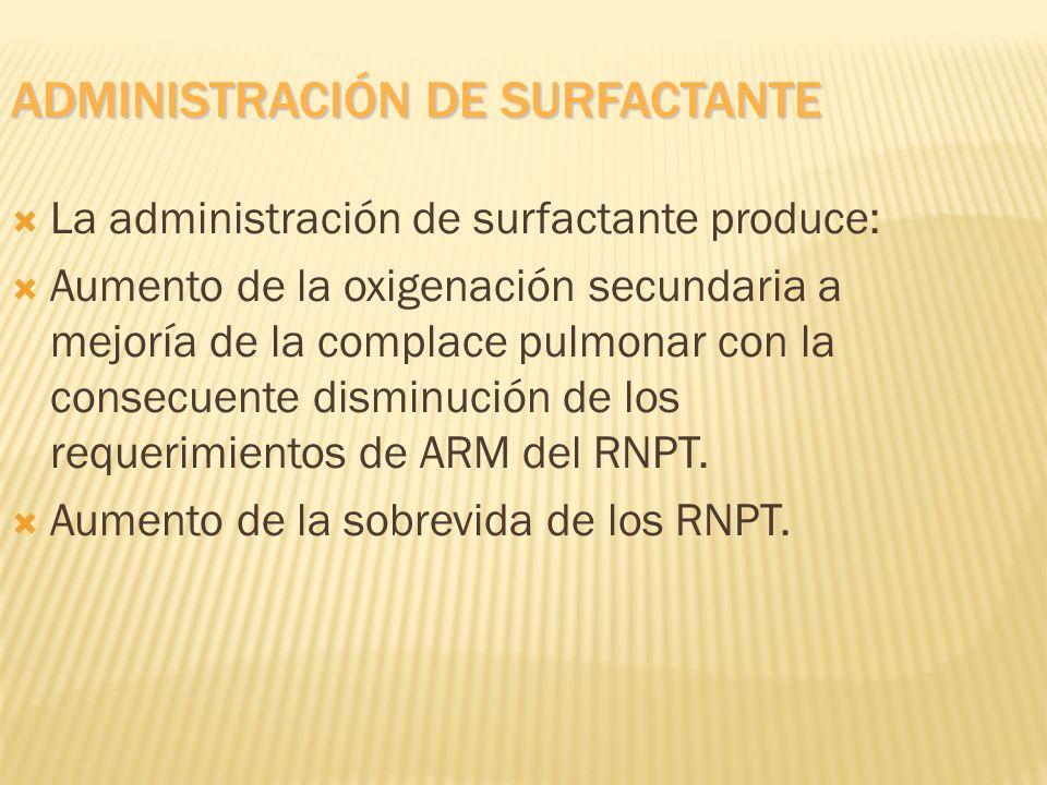 ADMINISTRACIÓN DE SURFACTANTE La administración de surfactante produce: Aumento de la oxigenación secundaria a mejoría de la complace pulmonar con la