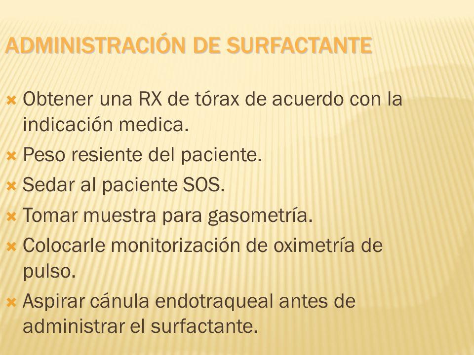 ADMINISTRACIÓN DE SURFACTANTE Obtener una RX de tórax de acuerdo con la indicación medica. Peso resiente del paciente. Sedar al paciente SOS. Tomar mu