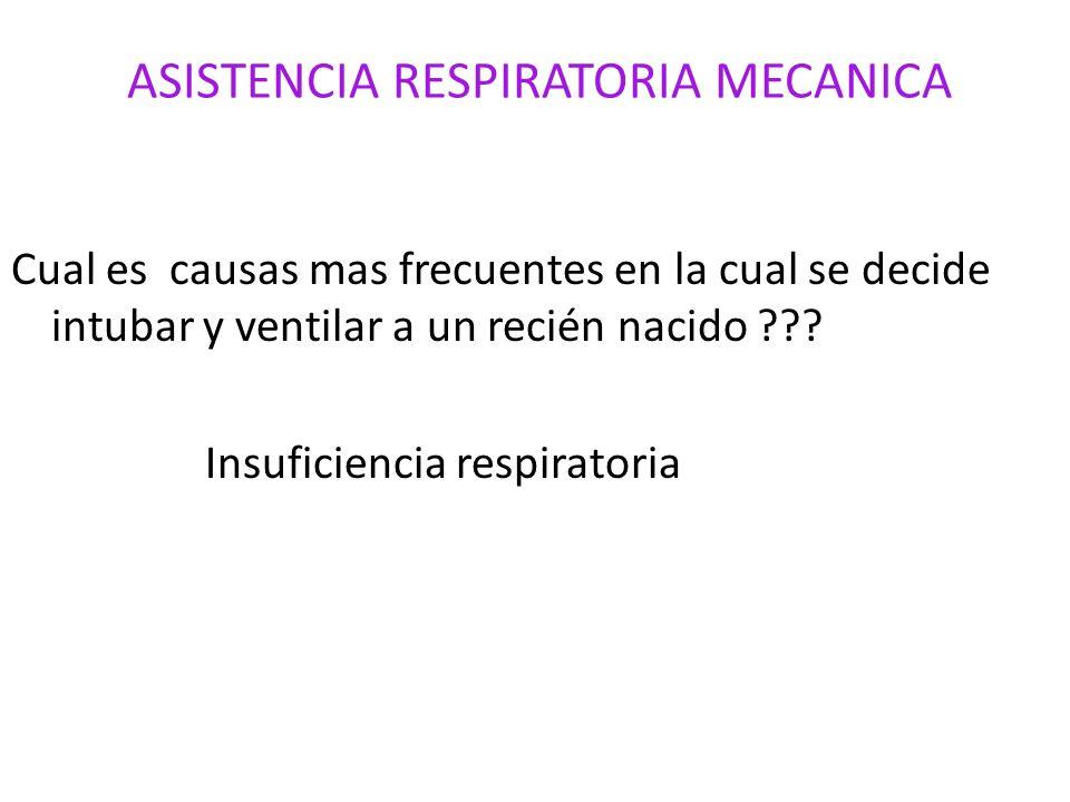 ASISTENCIA RESPIRATORIA MECANICA Cual es causas mas frecuentes en la cual se decide intubar y ventilar a un recién nacido ??? Insuficiencia respirator