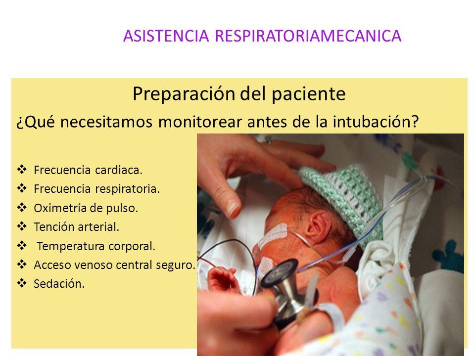 ASISTENCIA RESPIRATORIAMECANICA Preparación del paciente ¿Qué necesitamos monitorear antes de la intubación? Frecuencia cardiaca. Frecuencia respirato
