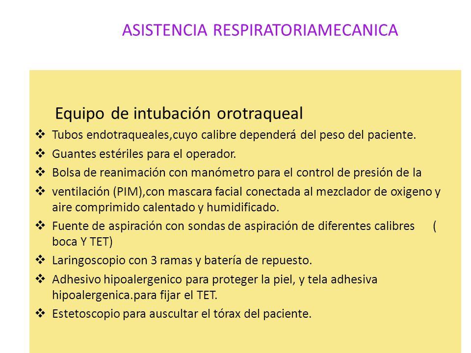 ASISTENCIA RESPIRATORIAMECANICA Equipo de intubación orotraqueal Tubos endotraqueales,cuyo calibre dependerá del peso del paciente. Guantes estériles