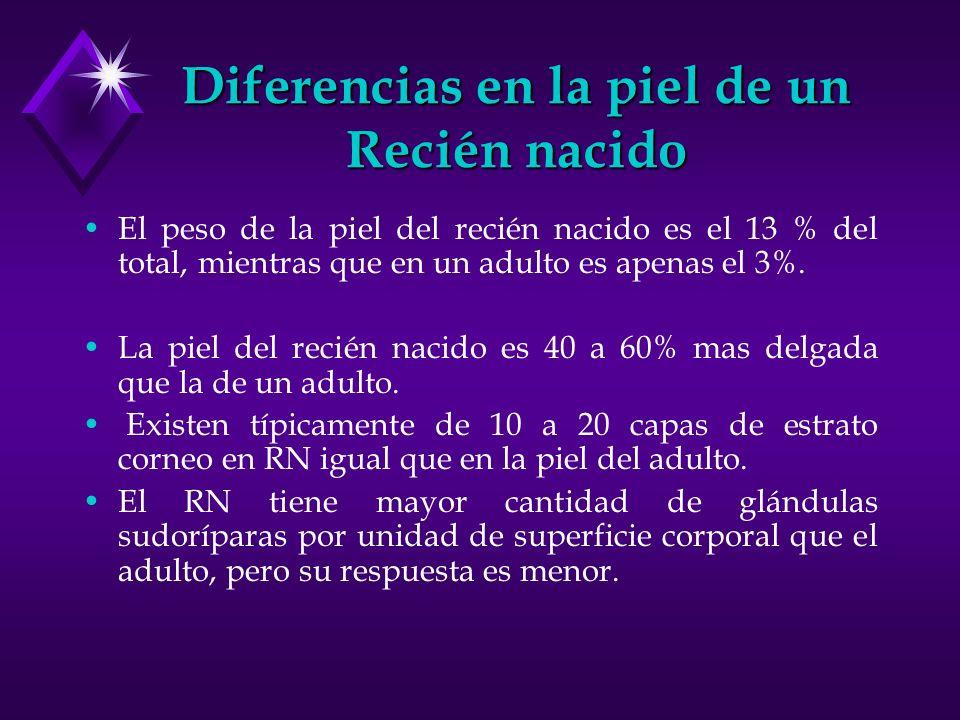 Diferencias en la piel de un Recién nacido El peso de la piel del recién nacido es el 13 % del total, mientras que en un adulto es apenas el 3%. La pi