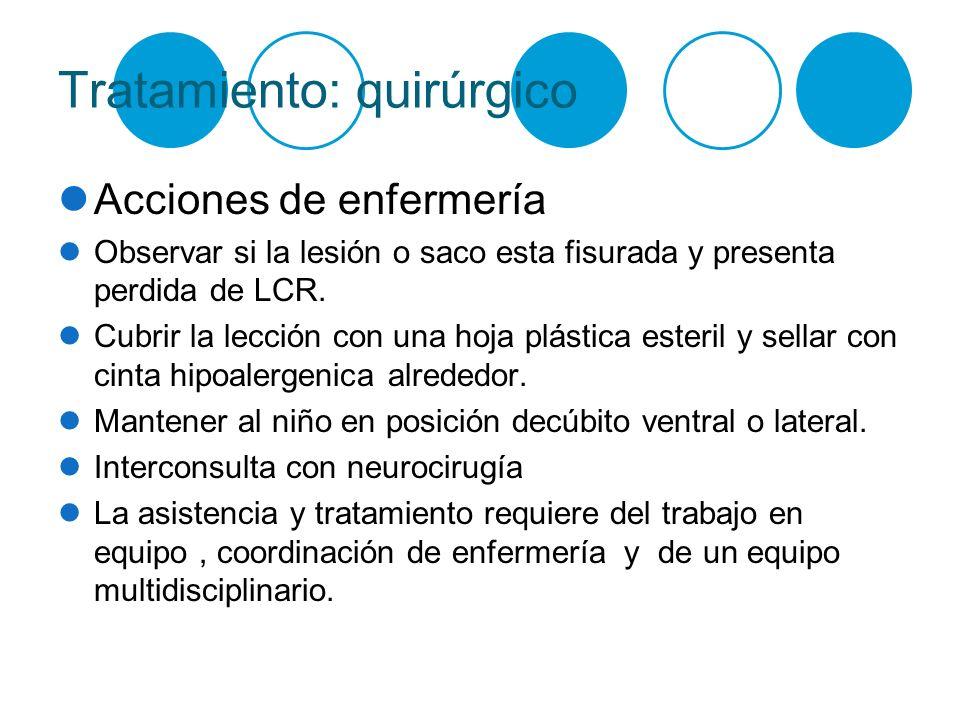 Tratamiento: quirúrgico Acciones de enfermería Observar si la lesión o saco esta fisurada y presenta perdida de LCR. Cubrir la lección con una hoja pl