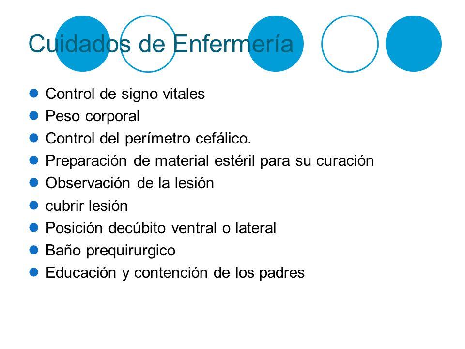 Cuidados de Enfermería Control de signo vitales Peso corporal Control del perímetro cefálico. Preparación de material estéril para su curación Observa