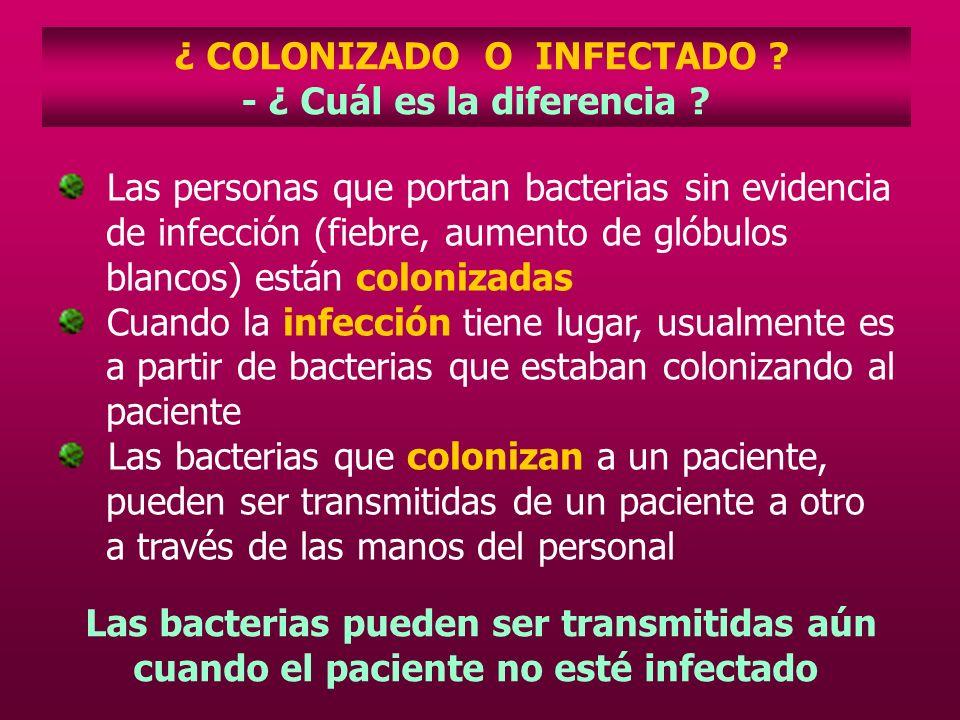 ¿ COLONIZADO O INFECTADO ? - ¿ Cuál es la diferencia ? Las personas que portan bacterias sin evidencia de infección (fiebre, aumento de glóbulos blanc