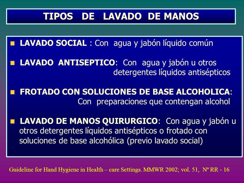 TIPOS DE LAVADO DE MANOS LAVADO SOCIAL : Con agua y jabón líquido común LAVADO ANTISEPTICO: Con agua y jabón u otros detergentes líquidos antisépticos