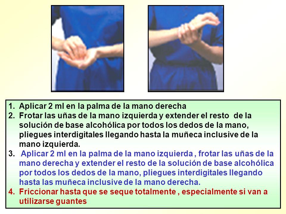 1.Aplicar 2 ml en la palma de la mano derecha 2.Frotar las uñas de la mano izquierda y extender el resto de la solución de base alcohólica por todos l