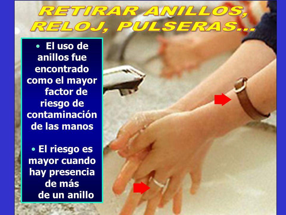 El uso de anillos fue encontrado como el mayor factor de riesgo de contaminación de las manos El riesgo es mayor cuando hay presencia de más de un ani