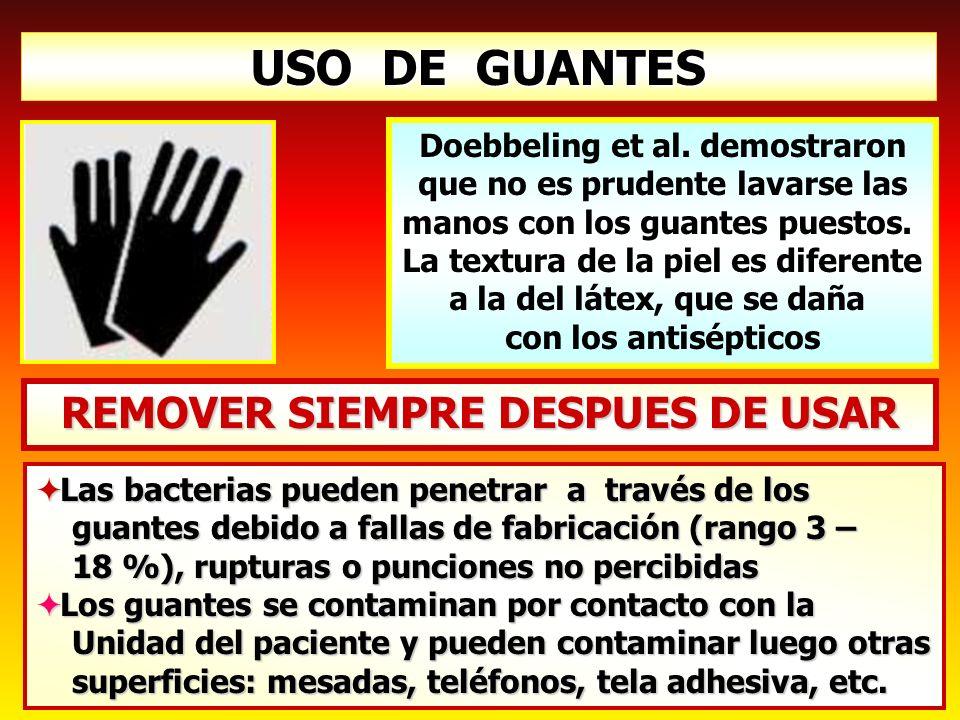 USO DE GUANTES Las bacterias pueden penetrar a través de los Las bacterias pueden penetrar a través de los guantes debido a fallas de fabricación (ran