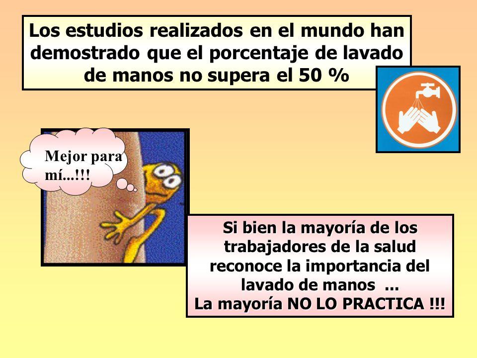Mejor para mí...!!! Si bien la mayoría de los trabajadores de la salud reconoce la importancia del lavado de manos... La mayoría NO LO PRACTICA !!! Lo