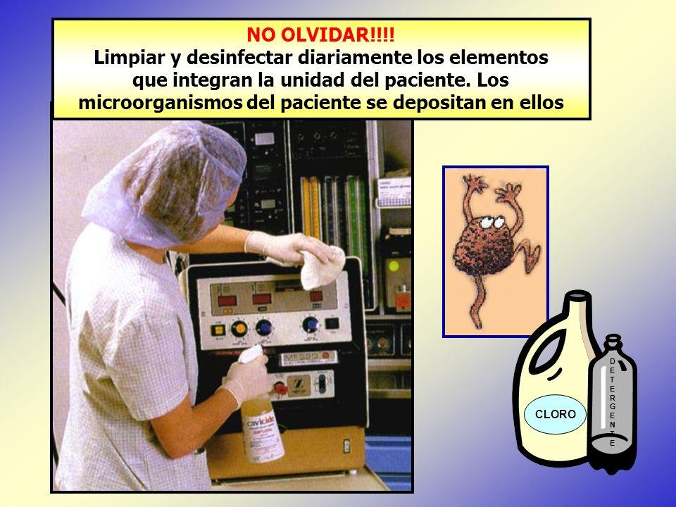 CLORO DETERGENTEDETERGENTE NO OLVIDAR!!!! Limpiar y desinfectar diariamente los elementos que integran la unidad del paciente. Los microorganismos del