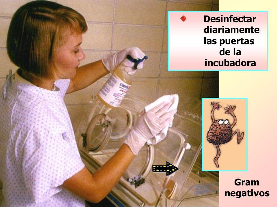 Gram negativos Desinfectar diariamente las puertas de la incubadora