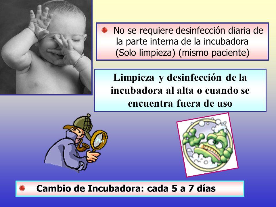 No se requiere desinfección diaria de la parte interna de la incubadora (Solo limpieza) (mismo paciente) Limpieza y desinfección de la incubadora al a