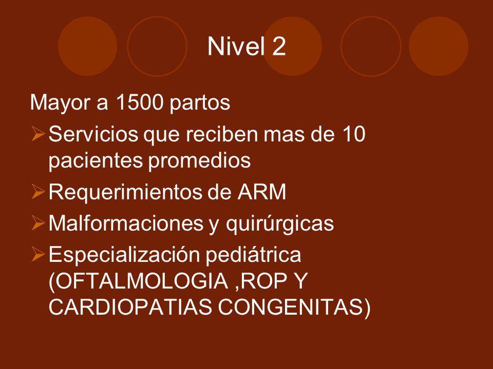 Nivel 2 Mayor a 1500 partos Servicios que reciben mas de 10 pacientes promedios Requerimientos de ARM Malformaciones y quirúrgicas Especialización pediátrica (OFTALMOLOGIA,ROP Y CARDIOPATIAS CONGENITAS)