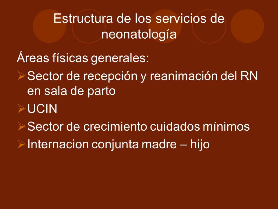 Estructura de los servicios de neonatología Áreas físicas generales: Sector de recepción y reanimación del RN en sala de parto UCIN Sector de crecimiento cuidados mínimos Internacion conjunta madre – hijo