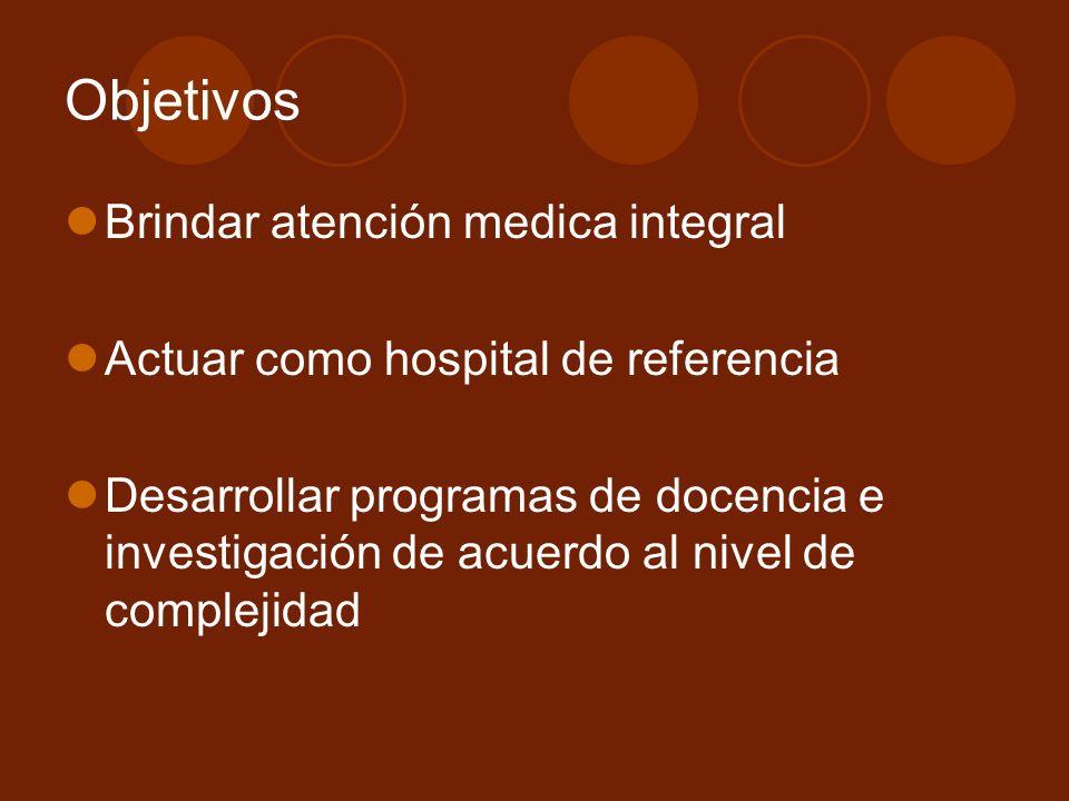 Objetivos Brindar atención medica integral Actuar como hospital de referencia Desarrollar programas de docencia e investigación de acuerdo al nivel de complejidad