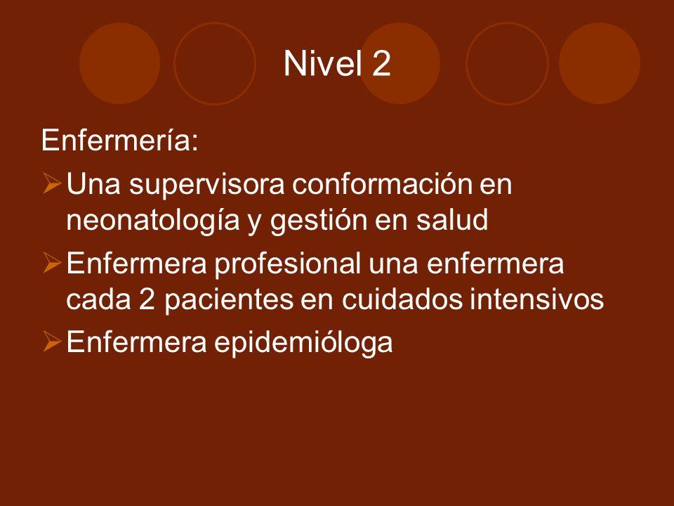 Nivel 2 Enfermería: Una supervisora conformación en neonatología y gestión en salud Enfermera profesional una enfermera cada 2 pacientes en cuidados intensivos Enfermera epidemióloga