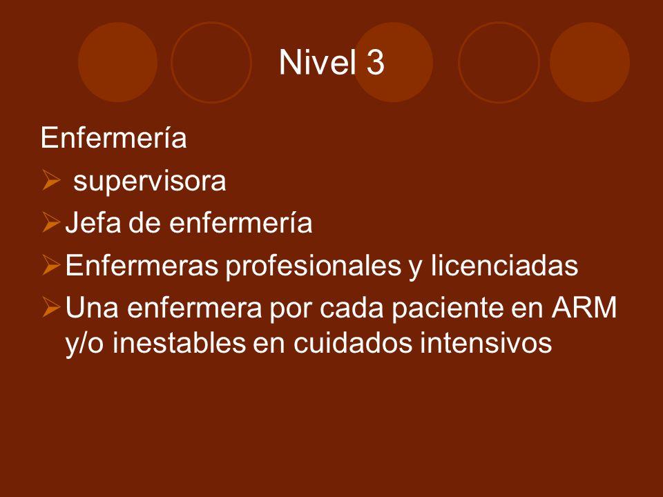 Nivel 3 Enfermería supervisora Jefa de enfermería Enfermeras profesionales y licenciadas Una enfermera por cada paciente en ARM y/o inestables en cuid