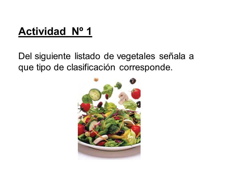 Actividad Nº 1 Del siguiente listado de vegetales señala a que tipo de clasificación corresponde.