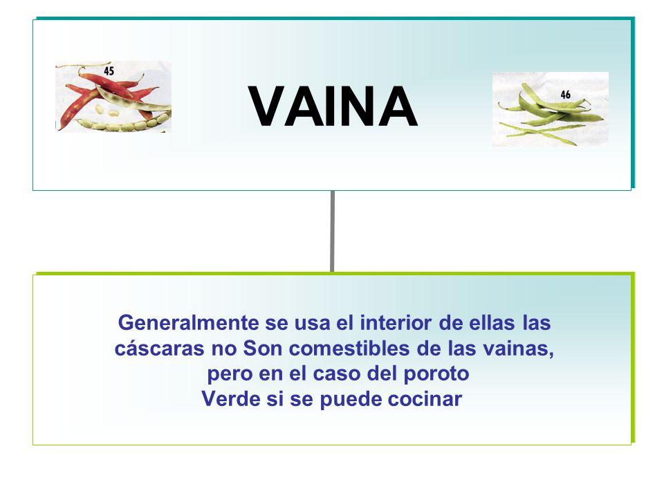 VAINA Generalmente se usa el interior de ellas las cáscaras no Son comestibles de las vainas, pero en el caso del poroto Verde si se puede cocinar