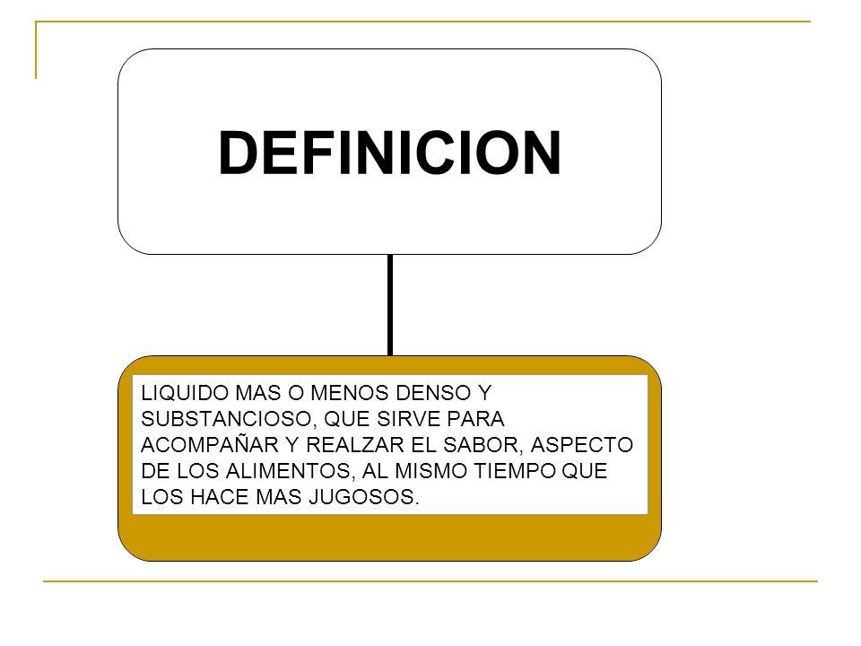 PARTES DE UNA SALSA BASE SAZON LIGANTE GUARNICION Fondo,crema,mantq Sal,pp,tomillo,laurel etc.