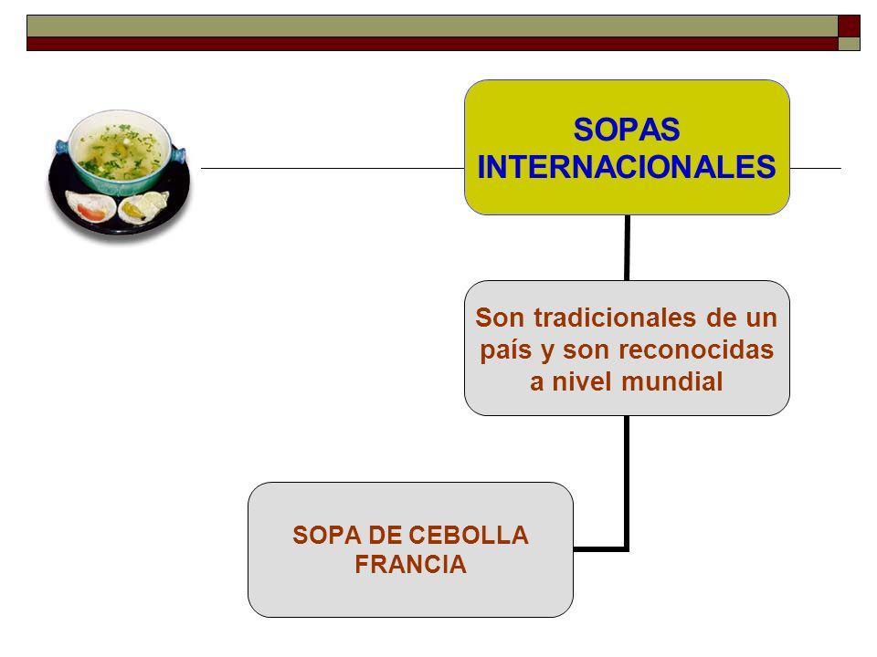SOPAS INTERNACIONALES Son tradicionales de un país y son reconocidas a nivel mundial SOPA DE CEBOLLA FRANCIA
