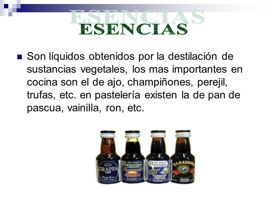 Son líquidos obtenidos por la destilación de sustancias vegetales, los mas importantes en cocina son el de ajo, champiñones, perejil, trufas, etc.