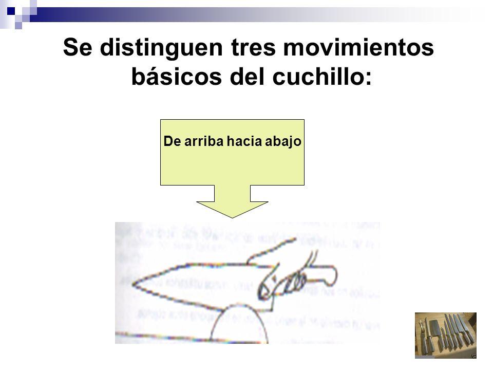 Se distinguen tres movimientos básicos del cuchillo: De arriba hacia abajo