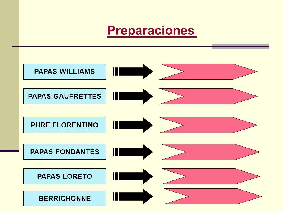 Preparaciones PAPAS WILLIAMS PAPAS GAUFRETTES PURE FLORENTINO PAPAS LORETO PAPAS FONDANTES BERRICHONNE