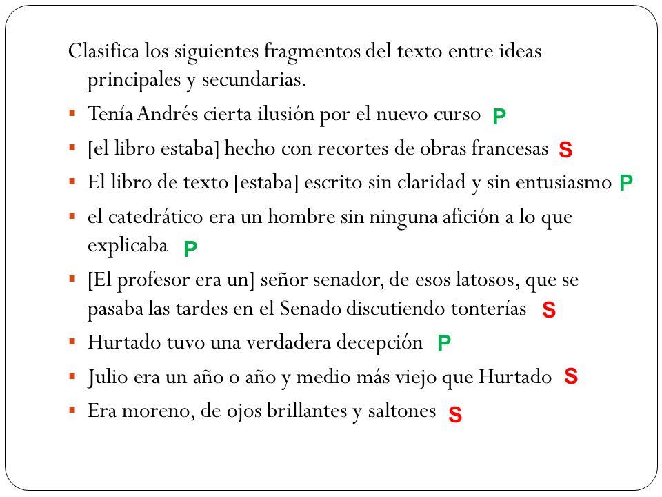 Clasifica los siguientes fragmentos del texto entre ideas principales y secundarias. Tenía Andrés cierta ilusión por el nuevo curso [el libro estaba]