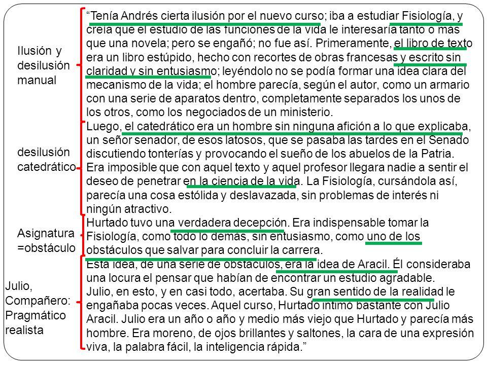 Tenía Andrés cierta ilusión por el nuevo curso; iba a estudiar Fisiología, y creía que el estudio de las funciones de la vida le interesaría tanto o m