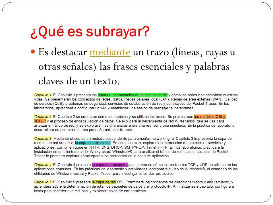 ¿Qué es subrayar? Es destacar mediante un trazo (líneas, rayas u otras señales) las frases esenciales y palabras claves de un texto.mediante