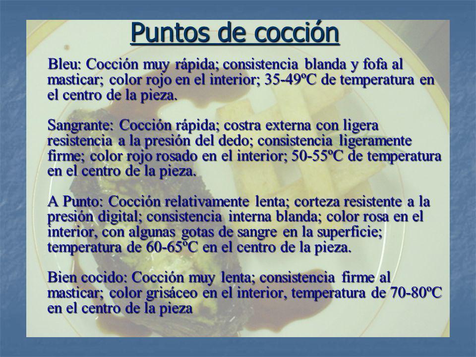 Puntos de cocción Bleu: Cocción muy rápida; consistencia blanda y fofa al masticar; color rojo en el interior; 35-49ºC de temperatura en el centro de