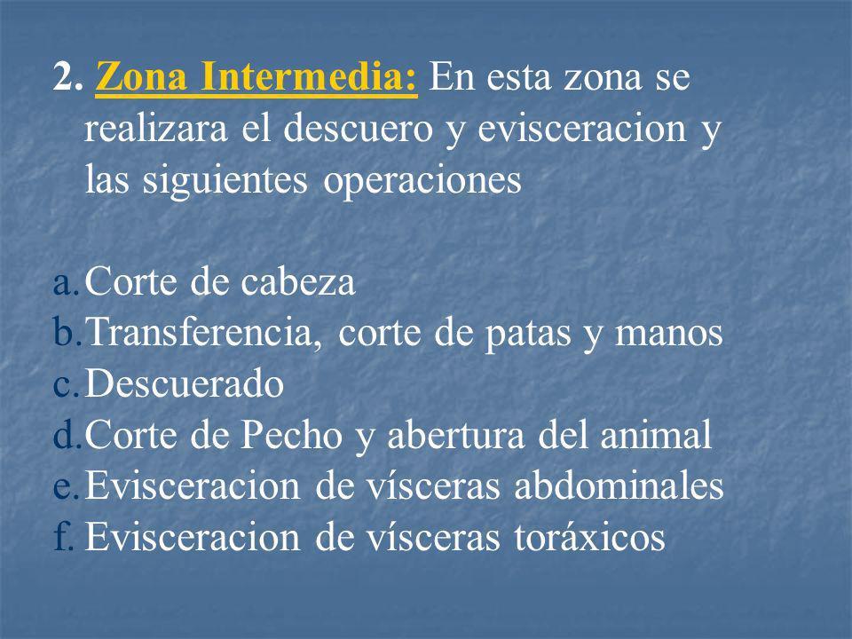 2. Zona Intermedia: En esta zona se realizara el descuero y evisceracion y las siguientes operaciones a.Corte de cabeza b.Transferencia, corte de pata