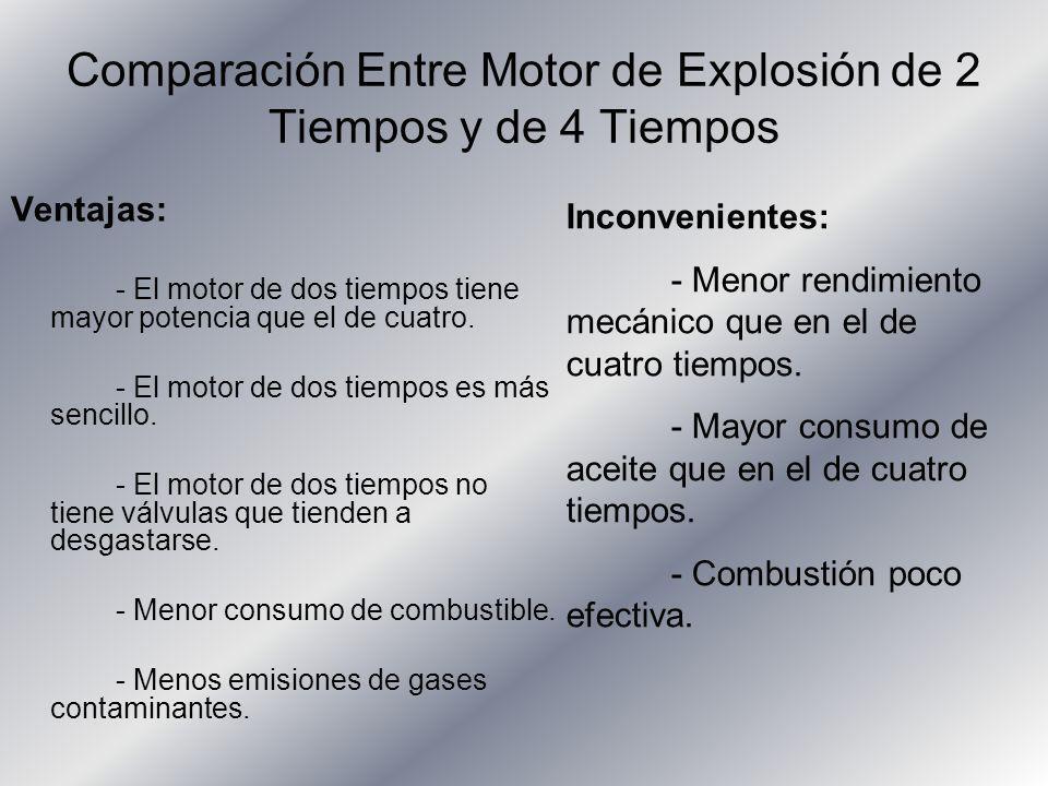 Comparación Entre Motor de Explosión de 2 Tiempos y de 4 Tiempos Ventajas: - El motor de dos tiempos tiene mayor potencia que el de cuatro. - El motor